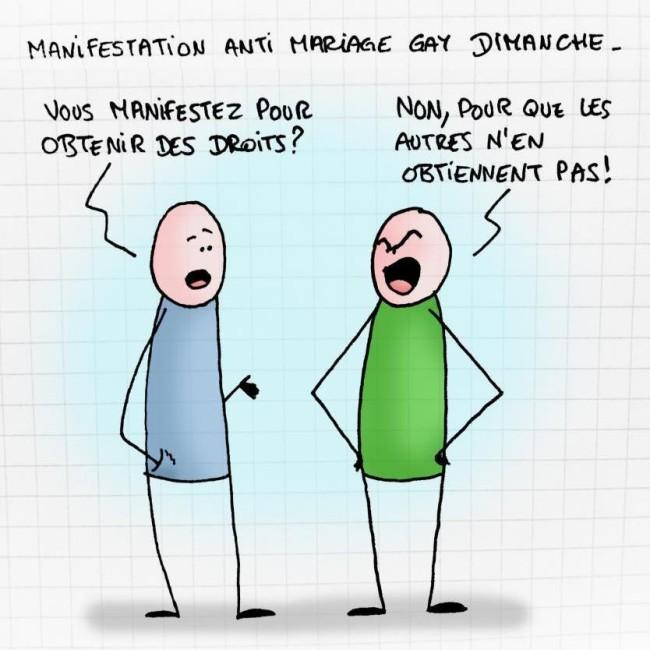 Caricature manif pour tous