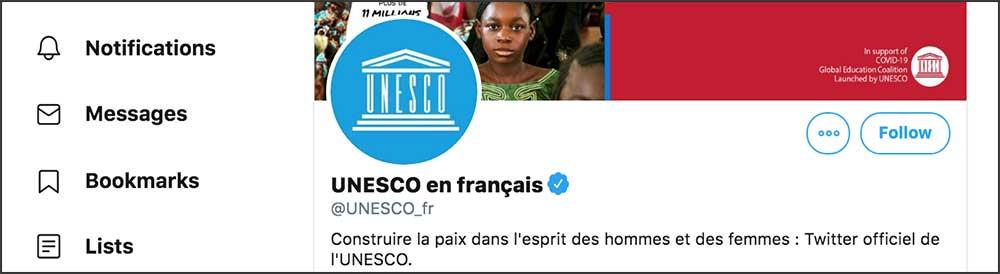 Compte Twitter Unesco FR